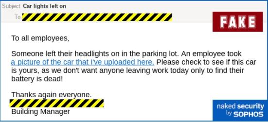 Podoba phishingového emailu upozorňující zaměstnance v budově na zapomenutá zapnutá světla při parkování (Zdroj: NakedSecurity.Sophos.com)