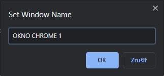Vyplníme požadované jméno okna Chrome