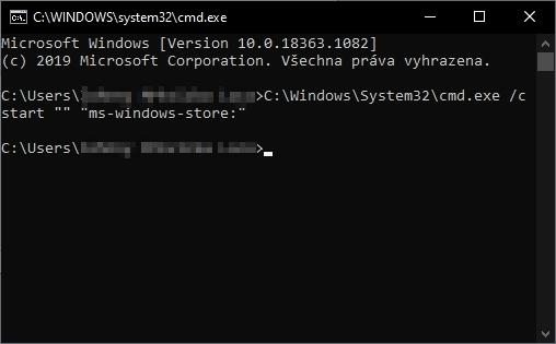 Postupujeme WIN + R - cmd - C:\Windows\System32\cmd.exe /c start