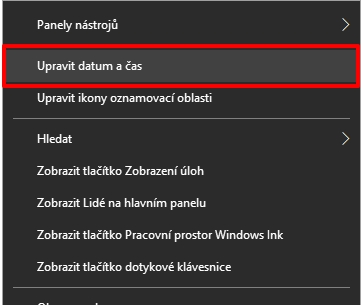Z kontextového menu zobrazení systémového času Windows 10 vybereme Upravit datum a čas