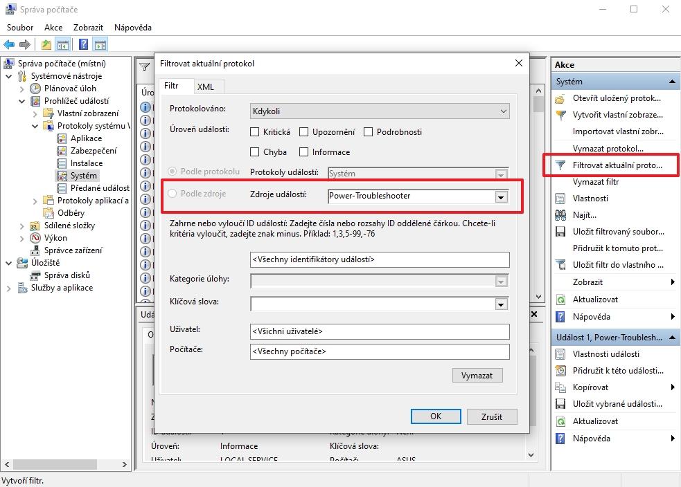 Protokoly události systému lze filtrovat pomocí volby Power-Troubleshooter