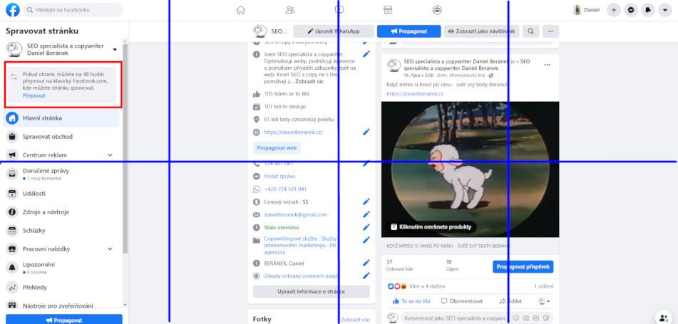 Podivné rozvržení designu firemních stránek na Facebooku (Zdroj: Facebook.com)