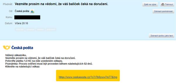 První verze phishingu (Zdroj: Avast)