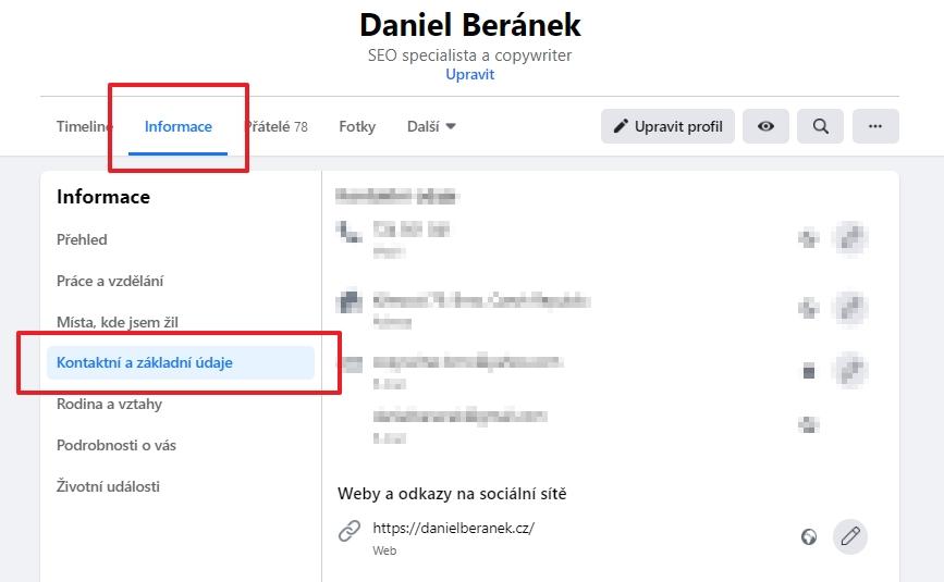 Navigujeme Profil - Informace - Kontaktní a základní údaje - Základní informace - Datum narození (Zdroj: Facebook.com)