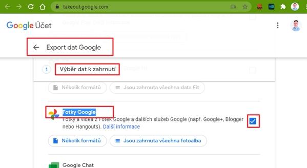 Postupujeme Export dat Google - Vytvoření nového exportu - Fotky Google - Další krok