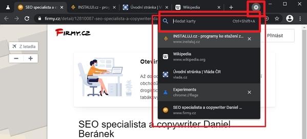 Horizontální menu otevřených panelů, jeho ikonka a kolonka pro textové vyhledávání