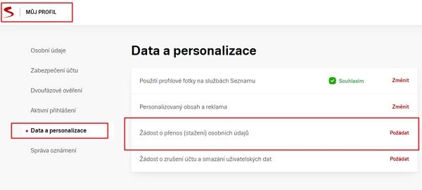 Navigujte Profil.seznam.cz - Data a personalizace - Žádost o přenos (stažení) osobních údajů - Požádat - autentizujte se zadáním přihlašovacího jména a hesla