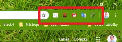 Rozšíření Chrome se zobrazují přímo vedle adresního řádku - ikonka menu aktivních rozšíření chybí