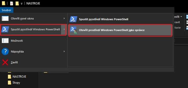 Otevřeme adresář s programem ViveTool.exe - v Průzkumníku souborů zvolíme z horního menu Soubor - Spustit prostředí Windows PowerShell - Otevřít prostředí Windows PowerShell jako správce