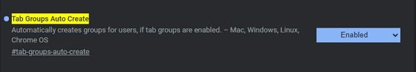 Navigujeme chrome://flags - Tab Groups Auto Create - povolíme Enabled a restartujeme Chrome
