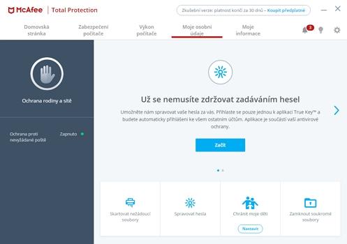 McAfee Total Security: ochrana osobních údajů