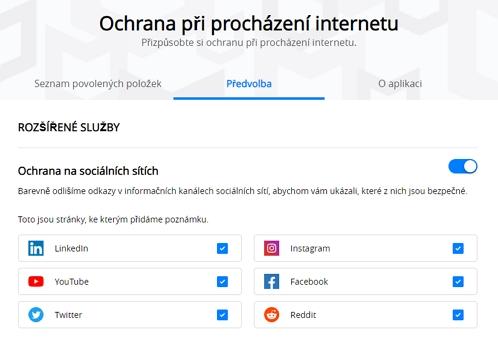 McAfee Total Security: sociální sítě chránění pomocí McAfee WebAdvisor