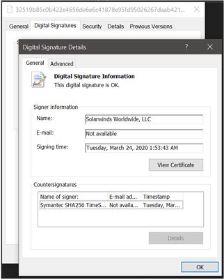Digitální podpis na softwaru SolarWinds s malwarem SUNBURST (Zdroj: FireEye.com)