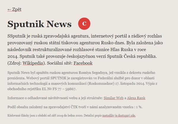Podrobnosti o médiu na stránkách Nadačního fondu nezávislé žurnalistiky (Zdroj: Seznam.cz)