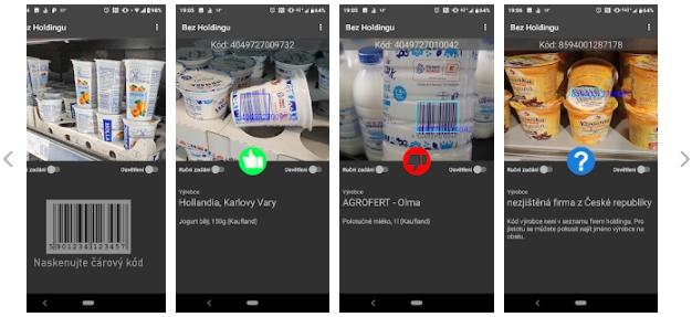 Bez Holdingu: před skenováním čárového kódu a možnosti výsledku po skenování (Zdroj: Google Play)