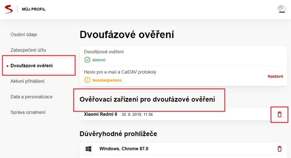 Navigujte Seznam Profil - Dvoufázové ověření - Ověřovací zařízení pro dvoufázové ověření  a zrušte všechna schvalovací zařízení (Zdroj: Seznam.cz)