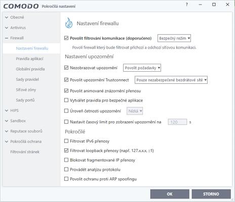 Nastavení umožňují odladit fungování nejen jednotlivých modulů, ale i celého balíku Comodo Internet Security