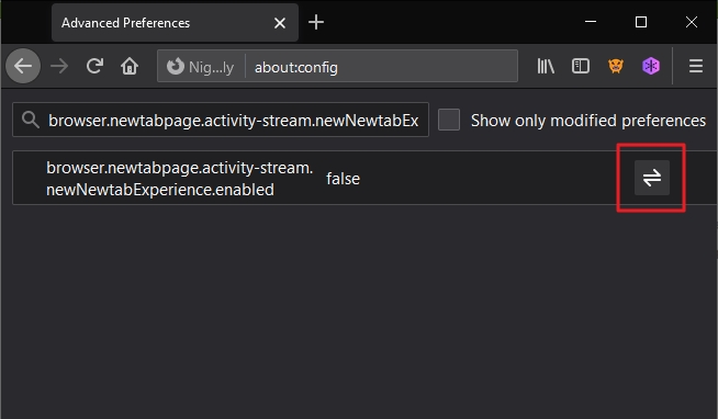 Postupujte about:config - browser.newtabpage.activity-stream.newNewtabExperience.enabled - přepněte hodnotu na true - restartujte Firefox (Zdroj: Firefox Nightly)