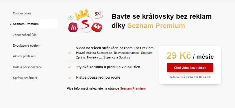 Navigujte Seznam Profil - Seznam Premium - odklikněte Chci videa bez reklam a zaplaťte přes platební bránu (Zdroj: Seznam.cz)