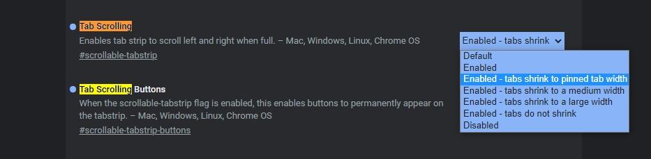 Navigujeme k položce Tab Scrolling, povolíme funkci scrollování a upřesníme šířku, na níž se mají scvrknout ouška scrollovatelných panelů (Zdroj: Google Chrome Canary)