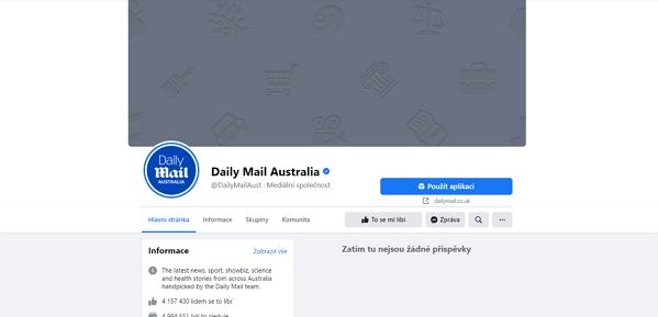 Téměř zcela vyprázdněná facebooková stránka Daily Mail Australia - zůstalo jen logo (Zdroj: Facebook.com)