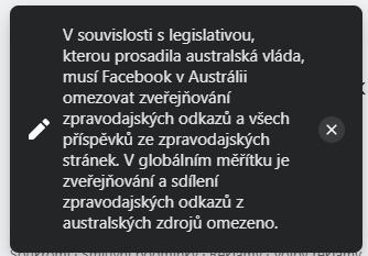 Reakce Facebooku na pokus sdílet australský zpravodajský zdroj (Zdroj: Facebook.com)