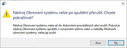 Potvrďte dialogové okno Varování volbou Ano (Zdroj: Windows 10)