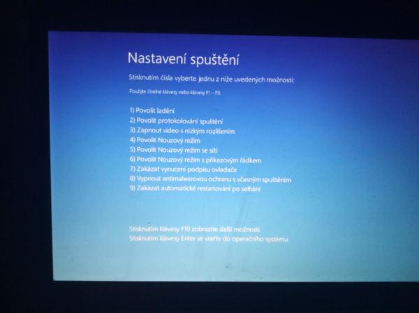Možnosti spuštění Windows 10 po restartu systému (Zdroj: Windows 10)