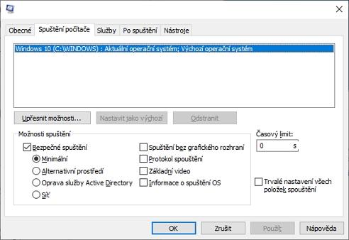 Nouzový režim lze vyvolat i přes Konfiguraci systému: WIN + R - msconfig - karta Spuštění počítače - Bezpečné spuštění - OK a restart (Zdroj: Windows 10)