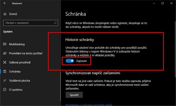 Navigujte Nastavení - Systém - Schránka - Historie schránky - zvolte Zapnout/Vypnout (Zdroj: Windows 10)