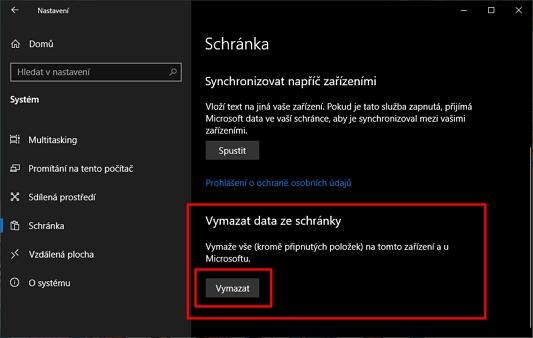 Postupujeme Nastavení - Systém - Schránka - Vymazat data ze schránky - a zvolíme Vymazat (Zdroj: Windows 10)