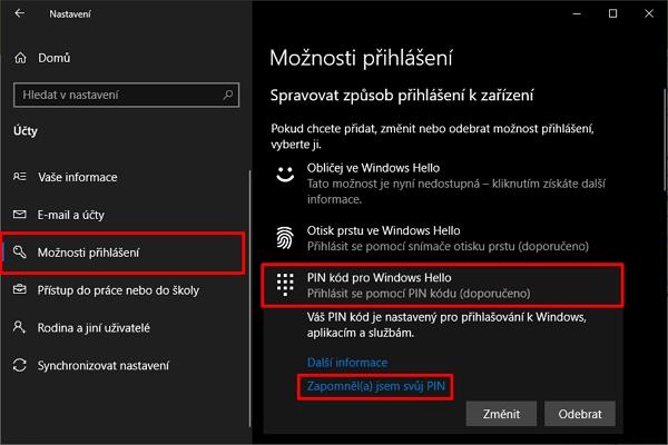 Postupujte do Nastavení - Účty - Možnosti přihlášení - v sekci Spravovat způsob přihlášení k zařízení odklikněte Pin kód pro Windows Hello - odklikněte možnost Zapomněl(a) jsem svůj PIN (Zdroj: Windows 10)