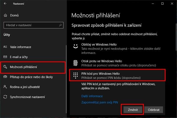 Postupujte do Nastavení - Účty - Možnosti přihlášení - v sekci Spravovat způsob přihlášení k zařízení odklikněte Pin kód pro Windows Hello - odklikněte Změnit (Zdroj: Windows 10)