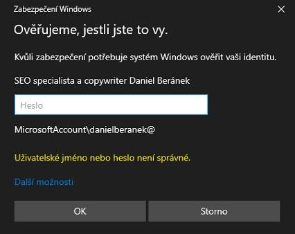 Ověřte svou identitu v nástroji Zabezpečení Windows zadáním hesla k Microsoft účtu (Zdroj: Windows 10)