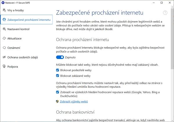 Zabezpečené procházení internetu a jeho jednotlivé funkce (Zdroj: F-Secure SAFE)