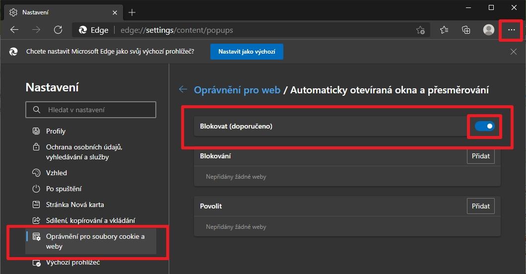 Postupujeme Nastavení - Oprávnění pro soubory cookie a weby -  Oprávnění pro web - Automaticky otevíraná okna a přesměrování - Blokovat (Zdroj: Microsoft Edge)