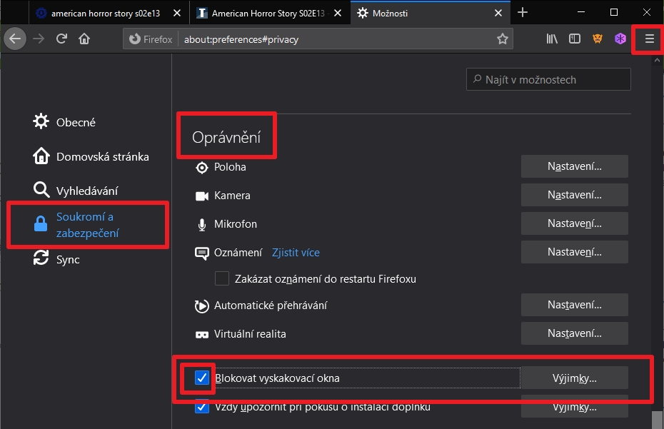 Postupujeme Možnosti - Soukromí a zabezpečení - Oprávnění - Blokovat vyskakovací okna (Zdroj: Mozilla Firefox)