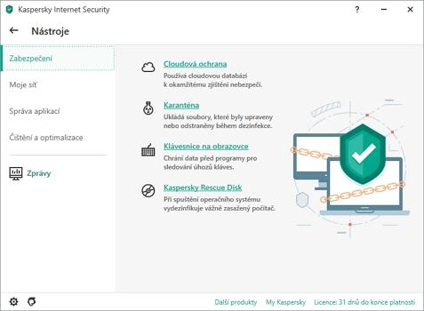 Další nástroje pomohou s méně obvyklými situacemi (Zdroj: Kaspersky Internet Security)