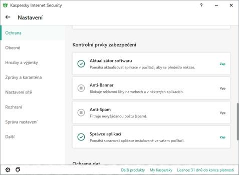 Nastavení aplikace je velmi podrobné (Zdroj: Kaspersky Internet Security)