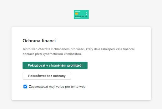 Ochrana financí je se schopna na relevantních webech připomenout sama (Zdroj: Kaspersky Internet Security)