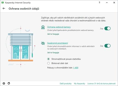 Ochrana osobních údajů chrání webkameru a pohyb uživatele internet (Zdroj: Kaspersky Internet Security)