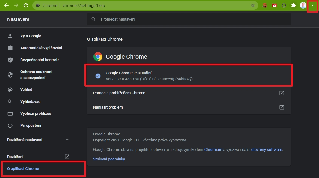 Navigujte ikonka 3 teček - Nastavení - O aplikaci Chrome - a ověřte verzi prohlížeče (Zdroj: Google Chrome)
