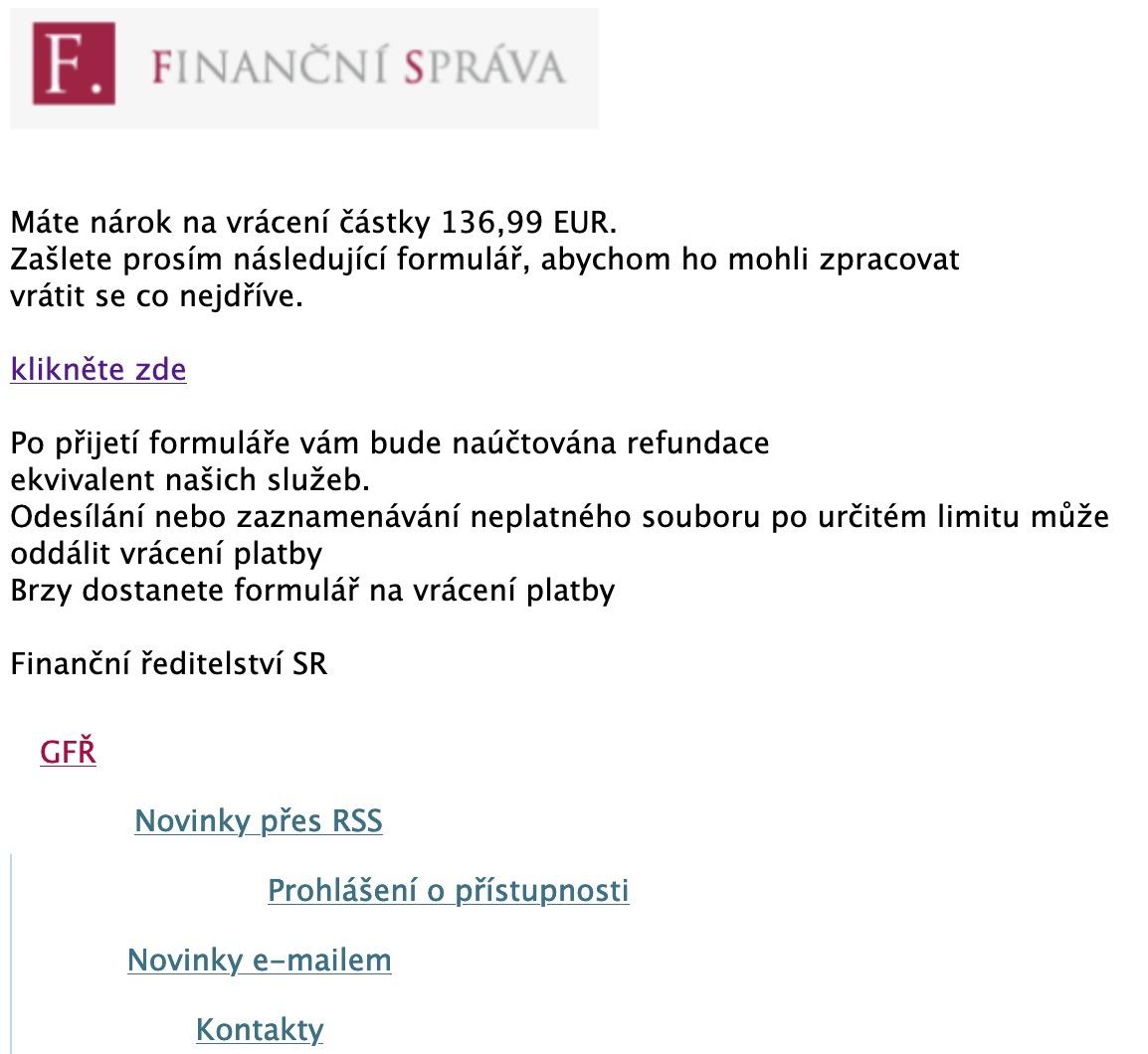 Podvodný phishing v podobě emailu od finanční správy některé z česko-slovenských republik (Zdroj: Financnisprava.cz)