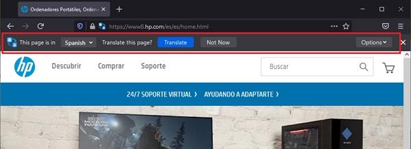 Bergamot se objeví v podobě dalšího řádku pod adresním řádkem na webech v podporovaných jazycích (Zdroj: Firefox Nightly)