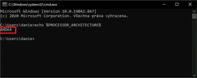 WIN + R - cmd - %PROCESSOR_ARCHITECTURE% - informace se zobrazí přímo pod příkazem (Zdroj: Windows 10)