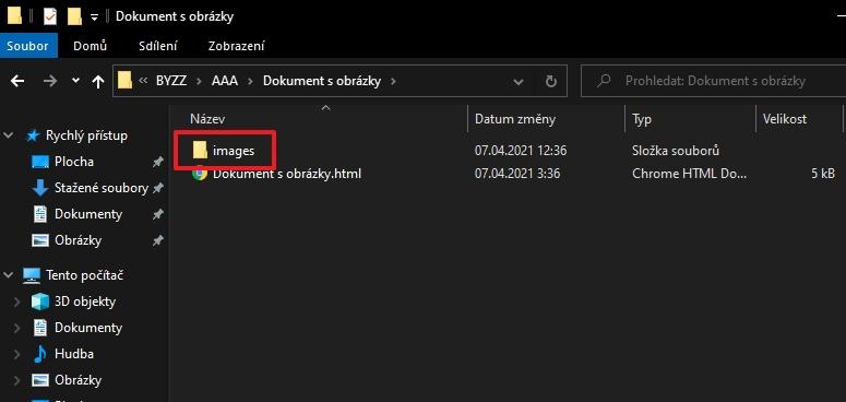 V adresáři rozbaleného ZIP souboru najdeme podadresář images, který obsahuje veškeré obrázky původního Google dokumentu (Zdroj: Windows 10)