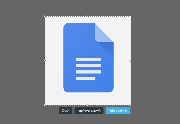 Sejmutí snímku obrázku Google Docs snímkovačem Opery (Zdroj: Opera)