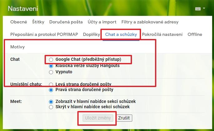 Navigujeme Nastavení - Zobrazit všechna nastavení - Chat a schůzky - Motivy - Chat - vybereme položku Google Chat (předběžný přístup) - potvrdíme Uložit změny (Zdroj: Gmail)