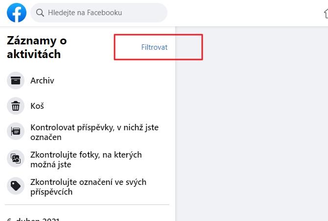 V rozhraní Záznamy o aktivitách zvolíme Filtrovat (Zdroj: Facebook.com)