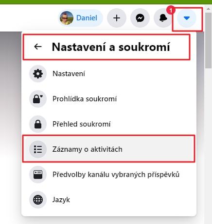 Navigujeme přes ikonku šipky směřující dolů vpravo nahoře - Nastavení a soukromí - Záznamy o aktivitách (Zdroj: Facebook.com)